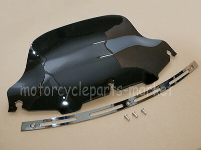 "Slotted Stock Batwing Trim + 8"" Black Windscreen For 1996-2013 Harley Touring"