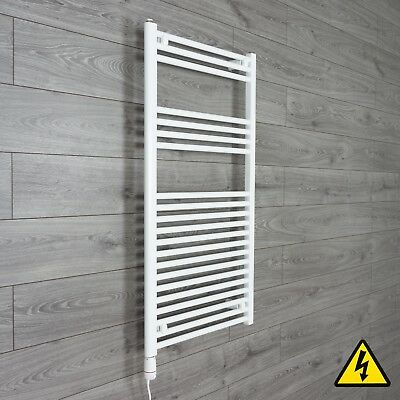 White electric towel rail radiator PRE-FILLED Thermostatic radiator bathroom HTR