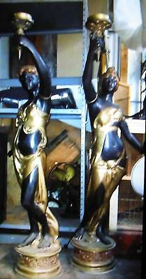 French Art Nouveau Female Bronze Torcheres Lamps Pair of Large Figures