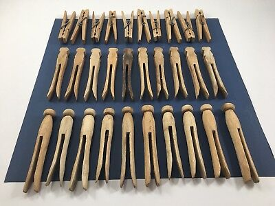 30 Primitive Vintage Wood Clothes Pins, Mid-Century, weathered, (3 styles)