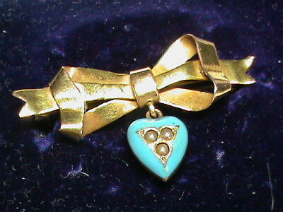 Antique Victorian 9k 9ct Gold Blue Enamel seed pearl Heart charm drop Brooch BOX