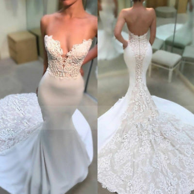 Mermaid Satin White/Ivory Wedding Dresses Sweetheart Lace Applique Bridal Gowns