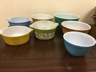 Vintage Antique Pyrex Lot Of 7 Bowls