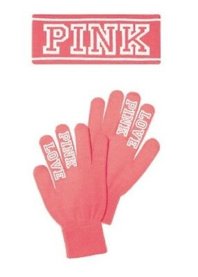 NIP! Victoria's Secret PINK KNIT HEADBAND AND GLOVES SET in Hot Pink