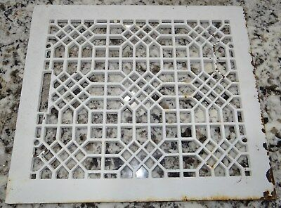 "Antique Cast Iron Heat Vent Grate Cover Register Floor Wall Ceiling 12""x14"" Vtg"