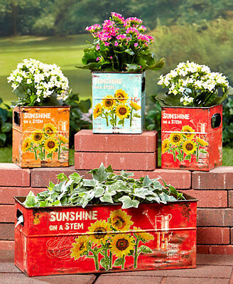 The Lakeside Collection Set of 4 Sunflower Planters