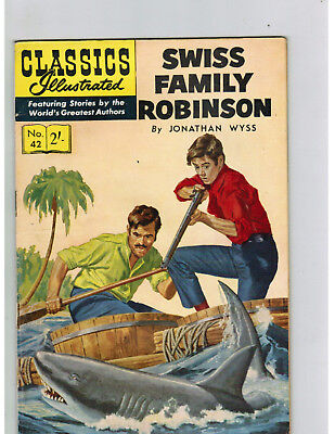 CLASSICS ILLUSTRATED COMIC No. 42 Swiss Family Robinson 2/- HRN 126