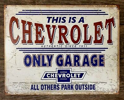 Chevy Only Garage Other Park Outside Metal Tin Sign Auto Car Truck Gift New USA
