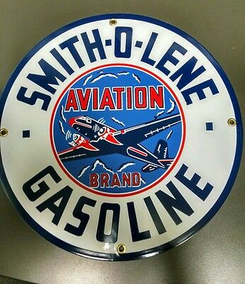 Smith-o-Lene Oil Gas Gasoline Porcelain Advertising Sign