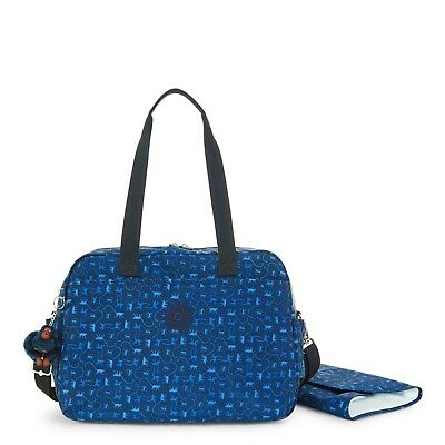 New- Kipling Popper Printed Diaper Bag with Changing Pad- Monkey Mania Blue