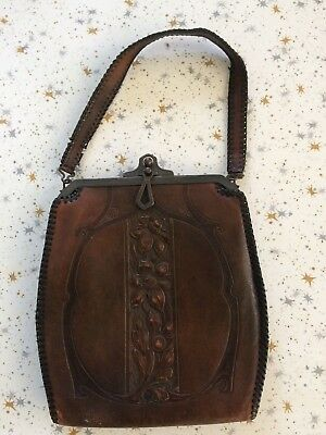 Vintage 1920's 1930's Arts & Crafts Purse Embossed Leather Floral Design w/Lock