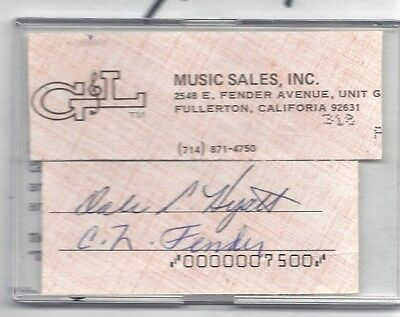 Leo Fender - Genuine Hand Signed Clip Tipped To Glossy Ad Page 8X10..scarce