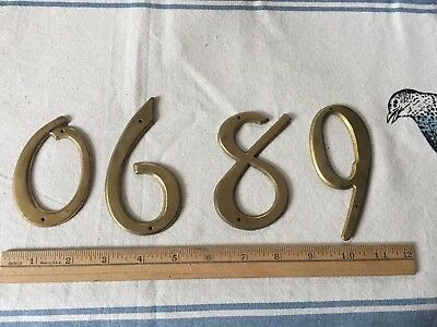 Vintage Brass Numbers, 0,6,8,9, Metal Home Decor, Salvage Hardware, Art Supplies