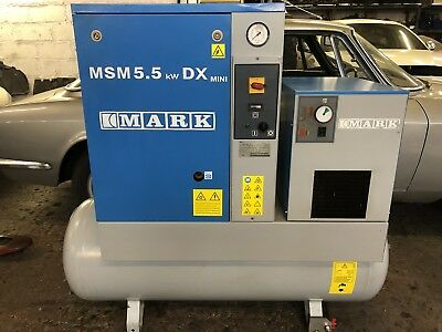 Mark MSM5.5 Rotary Screw Compressor With Dryer. Great Condition! 5.5Kw 9200 Hrs!