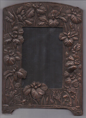 "Antique Oriental Art Nouveau Metal Mirror / Frame Circa:1900 "" FROGS & FLOWERS """