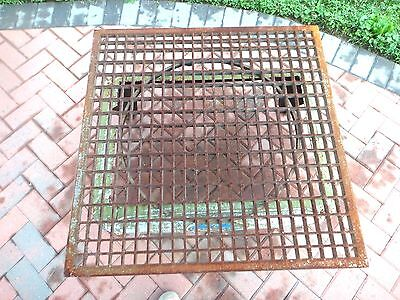 "Antique VICTORIAN 34 1/8"" SQUARE CAST IRON FLOOR GRATE COCKTAIL TABLE TOP HEAVY"