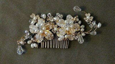 Gold Plated Bridal Wedding Hair Comb with Rhinestone and Pearl Floral