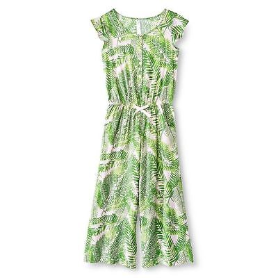 CHEROKEE Girls Romper Size Small Green Leaf Printed Jumpsuit NEW