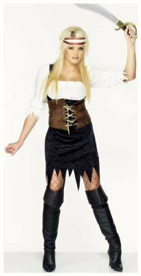 Womens Sexy Pirate Shipmate Brown outfit fancy dress costume Ladies 16 18