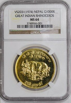 VS2031 (1974) Nepal Gold 1000R Great Indian Rhinoceros MS64 NGC
