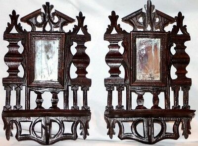 Antique Victorian Pair Of 1800's Carved Walnut Mirrored Folding Wall Shelves.