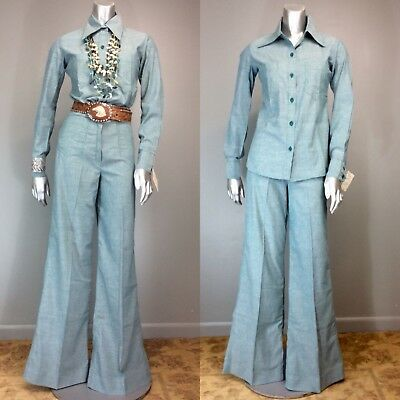 Vtg 70s High Waist Wide Leg Pants Shirt Sanforized COTTON Blouse Chambray NOS XS