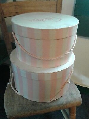 Vintage Smartwear Mayfair Pink stripe  Hat Box SET OF 2