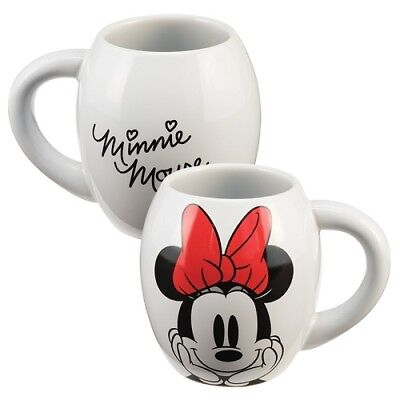 Disney White Minnie Mouse Retro Vintage Oval 18 Oz Ceramic Mug