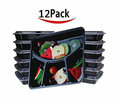 Meal Prep Containers, 10 Pack, 4  Food Compartments, Dishwasher/Microwave Safe
