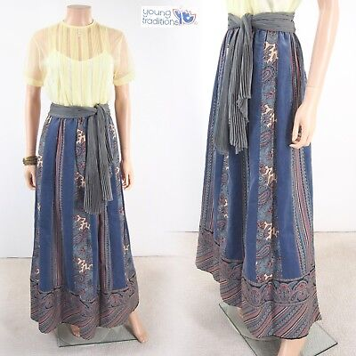 Vtg 70s YOUNG TRADITIONS Velvet Paisley Patchwork Hippie High Waist Maxi Skirt M