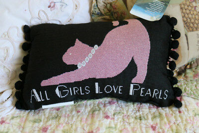 New Black & Pink All Girls Love Pearls Cat Kitten Kitty  Accent Throw PILLOW USA