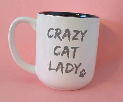 New Ceramic Extra Large 16 oz Crazy Cat Lady Gray Kitten Lover Tea Coffee Mug
