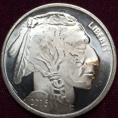 Liberty Indian Head Buffalo 2016 Silver 1 troy oz .999 Fine Silver Round ST
