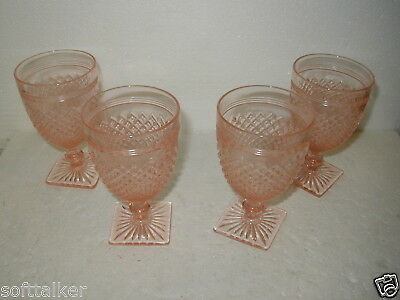 Set of Four Pink Miss America Water Goblets