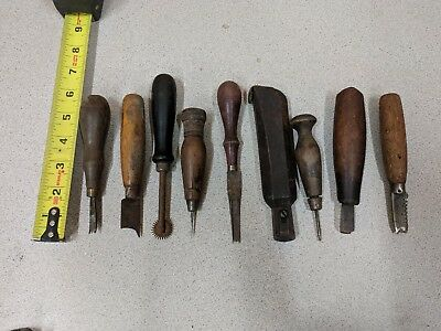lot of 9 Vintage Leather Working Tools,Wood Handles,Cobbler,Saddle Maker