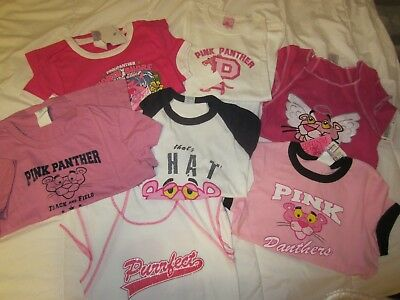 HUGE LOT of 7 Vintage PINK PANTHER Licensed Tee SHIRTS New with Tags Licensed Lg