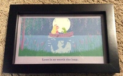 """Hallmark Muppets """"Love Is So Worth The Leap"""" Picture Frame Kermit Miss Piggy"""