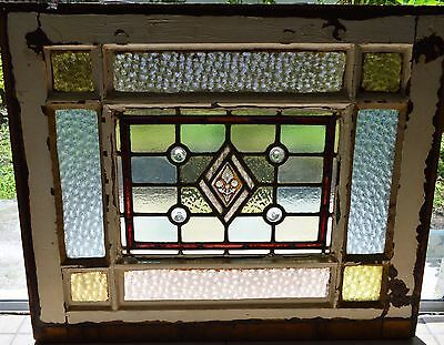 Antique Leaded English Stained Glass Large Window Wood Frame England House 30