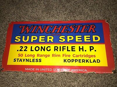 Winchester Long Rifle SUPER SPEED Steel Porcelain Ammo Sign Gun Ammo Hunting Gas