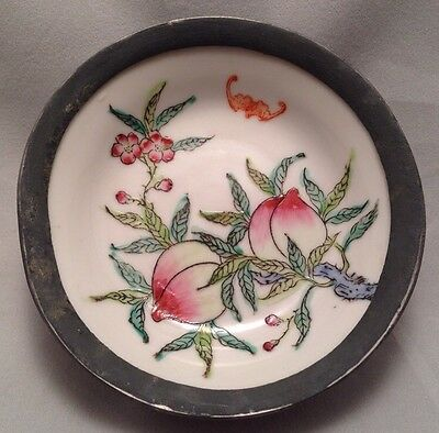 Porcelain W/ Pewter Overlay Hand Painted Dish Chinese Peaches Bat Vtg Maas Bros.