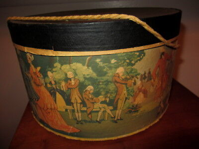 VINTAGE  ROUND WALL PAPPER HAT BOX SCENE 1700s SCENE WITH CORD HANDLE