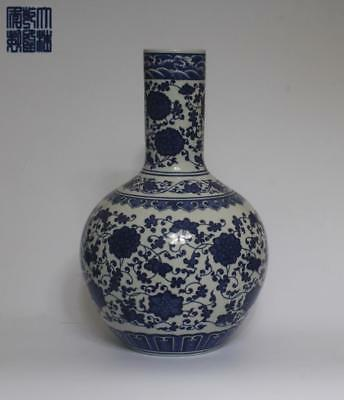 Very Rare Large Chinese Blue And White Porcelain Vase Qianlong Marked (L997)