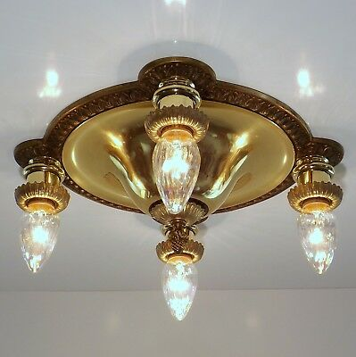 Bradley & Hubbard Antique Brass Flush Pan Ceiling Light Fixture B&H Chandelier