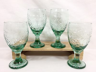 4 LIbbey Rock Sharpe ORCHARD FRUIT Green Glass Ice Tea Water Goblets 16 oz Set