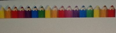 Colored Pencils BULLETIN BOARD WALL BORDER Rainbow Colors Teacher Resource NEW