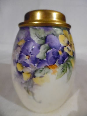 Antique Ceramic Favorite Vanity Talcum Shaker Pansy Flower Design Bavaria