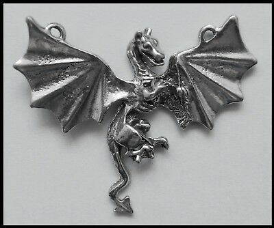 PEWTER CHARM #430 Dragon (50mm x 43mm) 2 top bails wings spread flying