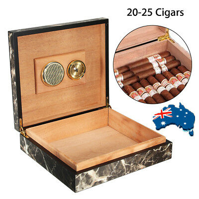 Marble Cedar Wooden Lined Cigar Storage Humidor Humidifier w/Hygrometer Case Box