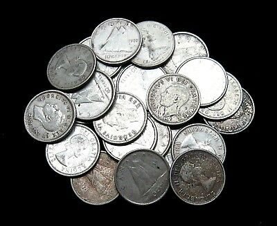 Lot Of 23 - Canadian 80% Silver Dimes - Various Dates - $2.30 Face Value