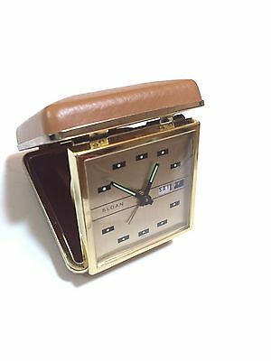 Vintage SLOAN Travel Alarm Clock Made In Japan Day Date Clam Shell case Works
